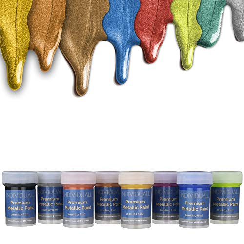 individuall Premium Metallic Paints Professional Grade Metallic Paint Set - Acrylic Hobby Paints Made in Germany - Craft Paint Set with 8 Vivid Colors - Great for Beginners, Students, Artists Artist Bronze Outdoor Wall