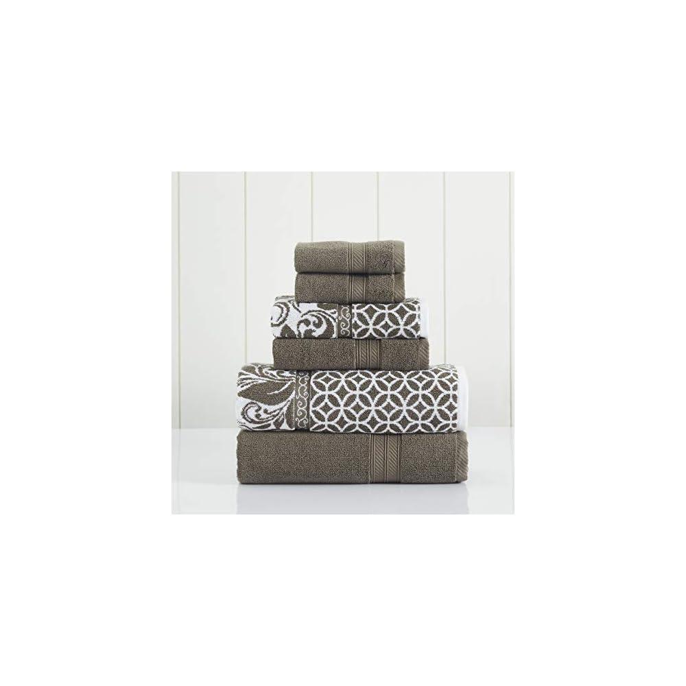 Amrapur Overseas | Trefoil Filigree 6 Piece Reversible Yarn Dyed Jacquard Towel Set (Mocha)