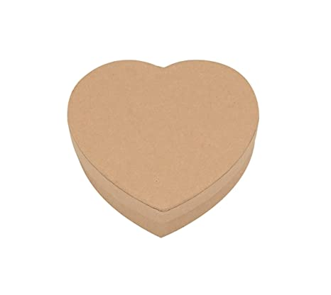 GLOREX corazón de caja, cartón, natural, 9,2 x 9 x 2,6 cm
