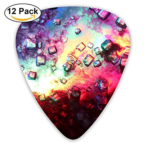 12-pack Fashion Classic Electric Guitar Picks Plectrums Abstract Block Color Instrument Standard Bass Guitarist