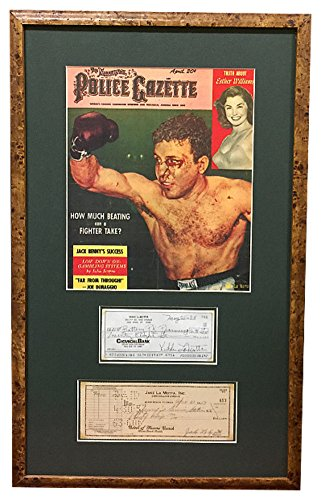 Jake Lamotta & Vikki Lamotta Signed Autograph Cancelled Bank Checks Police Gazette Cover Custom Framed BAS Beckett LOA #A86269 Certified Authentic