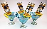 Mexican Glass Margarita Martini Turquoise White Swirl with CoronaRita Holders