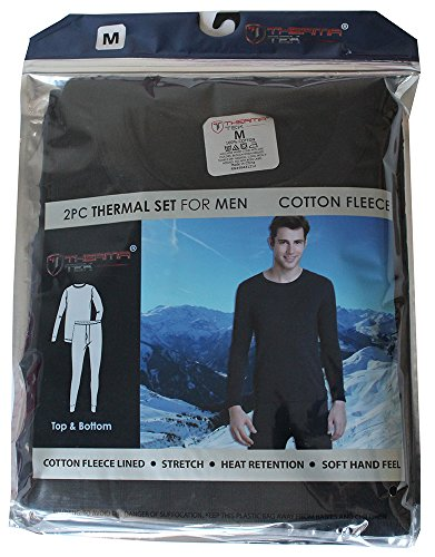 therma-tek-previously-comfort-fit-mens-winter-thermal-cotton-fleece-top-bottom-2-pcs-set-black