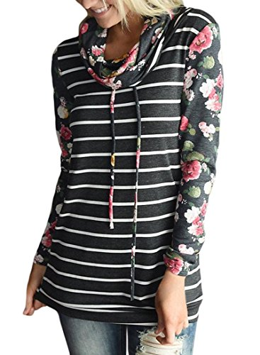Womens Casual Long Sleeve Floral Print Pullover Sweatshirts Cowl Neck Striped Blouse Tops Tee Shirts Black S 4 6