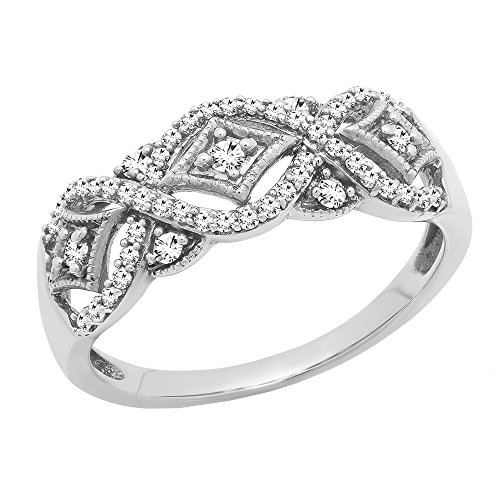 Dazzlingrock Collection 0.33 Carat (ctw) 10K Round Diamond Ladies Vintage Style Wedding Band 1/3 CT, White Gold, Size 7 (Wedding Band Round Diamond)