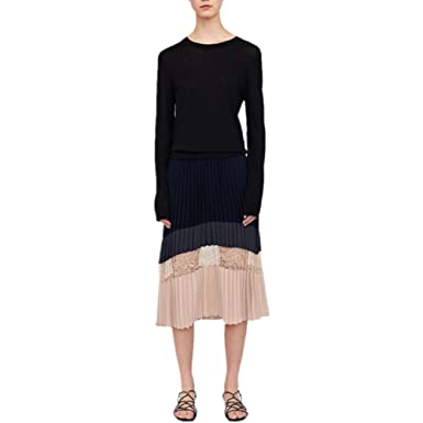 bdb3f73d7d princessdresscode Woman Colour Block Pleated Skirt With Lace Deatil Navy  Blue (One Size)