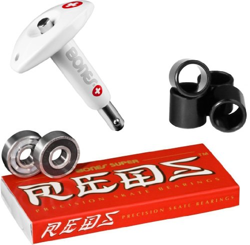 Bones Super Reds Bearings, 8 Pack set With Puller Tool & FREE Bones Spacers