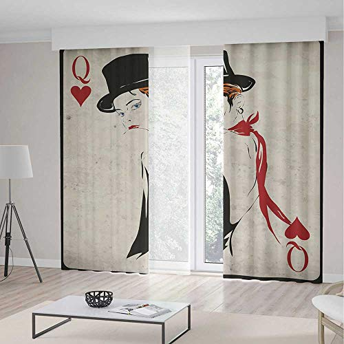ALUONI Bedroom Blackout Curtains,Queen,Living Room Bedroom Décor,Retro Style Woman with Hat Playing Card Design Poker Casino Icon Gamble Decorative2 Panel Set,103W X 96L Inches
