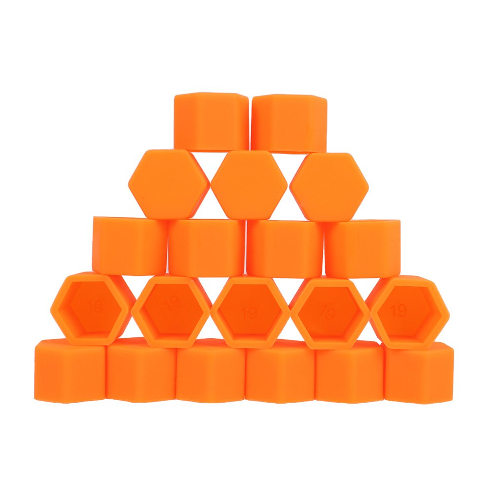 ATMOMO 19mm-ORANGE Silicone Car Wheel Hub Lugs Nuts Bolts Cover Protective Cap Dust Protective Tyre Valve Screw Cap Cover(20pcs/Set) by ATMOMO (Image #3)