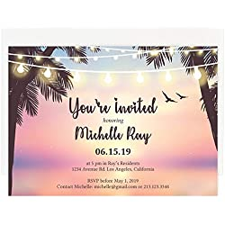 Custom - Beach Party Invitation Set - Set of 25, Personalized Wedding Invitation, Destination Wedding, Hawaiian Wedding (Invitation + Envelope)