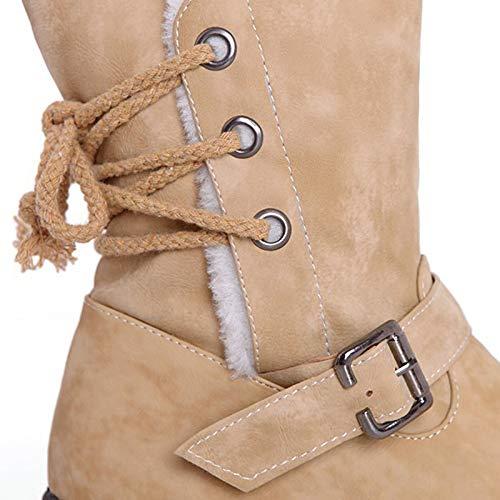 Para Suela Botas Mujer Plana Gaoqq Y Beige Martin Invierno cn39 Calzado Cinturón Anchas De cn38 brown Hebilla qItddw4Y