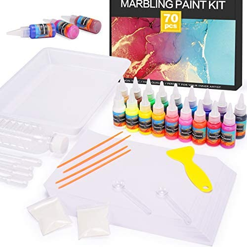 Marbling Paint Art Kit for Kids, 18 Colors Water Marbling equipment, Water Art Paint Set, Arts and Crafts for Girls & Boys Ages 6-12, Craft Kits Art Set, Ideas for Kids Activities