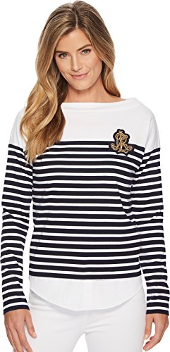 Lauren Ralph Lauren Women's Striped Layered Cotton Sweater Navy/White - Lauren Ralph Striped