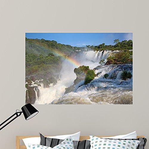 Rainbow Over Waterfall (Wallmonkeys Iguazu Falls Wall Mural Peel and Stick Graphic (48 in W x 32 in H) WM360037)