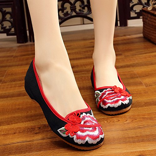 da Scarpe a xiuhuaxie casual ricamate GuiXinWeiHeng moda all'interno dell'aumento scarpe stile comodo donna etnico tendina suola black HqSzxw