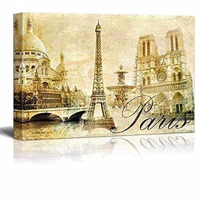 Canvas Prints Wall Art - Amazing Paris - Vintage Clipart (Eiffel) | Modern Wall Decor/Home Decoration Stretched Gallery Canvas Wrap Giclee Print. Ready to Hang - 32