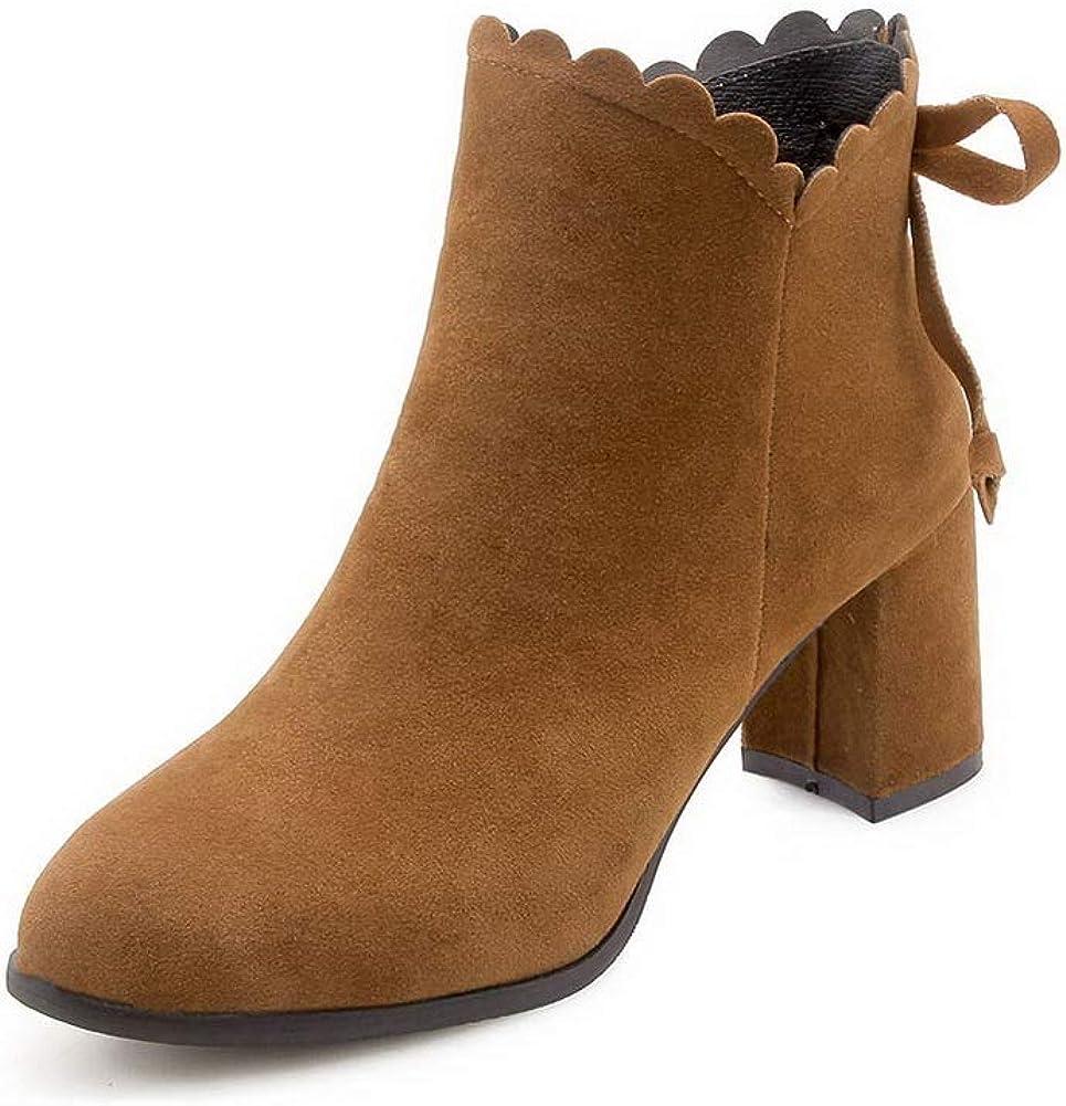 AN Womens Chunky Heels Zipper Bows Imitated Suede Boots DKU02161