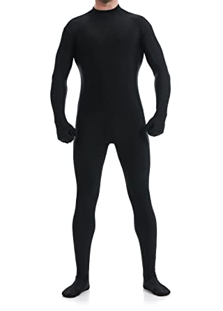 spandex lycra open face zentai suit full bodysuit unitard halloween costume black small