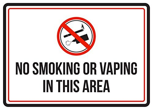 (HarrodxBOX No Smoking Or Vaping in This Area Red Black & White Business Commercial Safety Warning Metal Sign for Home Wall Art Decor Post Plaque for Women Men)
