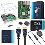 V-Kits Raspberry Pi 3 B+ (B Plus) Complete Starter Kit (16GB & Clear Case Edition) [2018 Model]