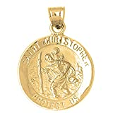 Yellow Gold-plated Silver 34mm Saint Christopher Pendant Necklace