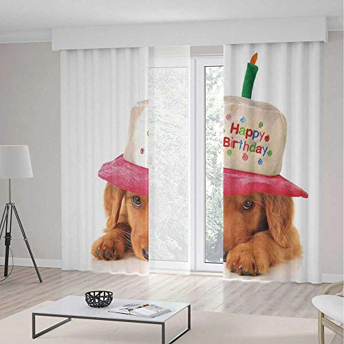 Door Curtain,Birthday Decorations for Kids for Living Room,Golden Puppy with Party Cone Shaped Hat with Candle Image,103Wx94L Inches ()