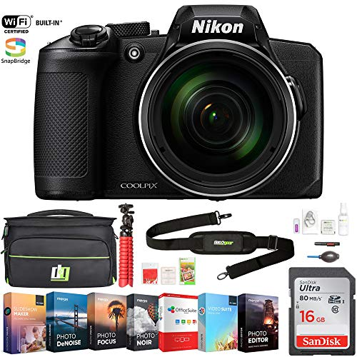 (Nikon COOLPIX B600 16MP 60x Optical Zoom Digital Camera with Built-in Wi-Fi Black Bundle with Photo and Video Professional Editing Suite, Bag for DSLR, 16GB Memory Card)