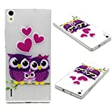 P7 Case, Huawei Ascend P7 Case,Ascend P7 Extra Slim Fit Case,Huawei P7 Rubberized Cases, P7 Armor Hybrid Bumper Case,Huawei P7 Non-Slip Shock Absorbent Back Cover, Ahgao Fashion Relief Paint Pattern Soft TPU Gel Skin Protection for Huawei Ascend P7 - Owl families