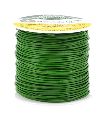 Mandala Crafts 1mm 2mm 3mm 20 Yards Natural Round Leather String Cord Rope Spool for Necklace Bracelet Jewelry Making (1mm, Green) (Green Leather Cord)