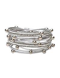 TASBERN Leather Wrap Bracelet for Women Multi Studded Rope Cuff Bracelets with Rhinestone Wristband for Teen Girls Gift