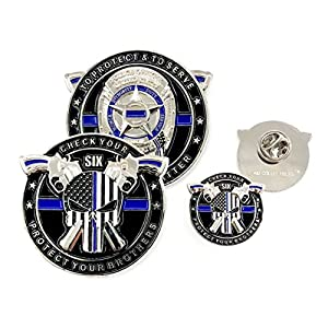 AIIZ Collectibles Police Coin & Pin - Punisher Thin Blue Line, Blue Lives Matter Law Enforcement Officers Military Police NYPD Challenge Coin with Unique Serial Numbers from Emporium Royale