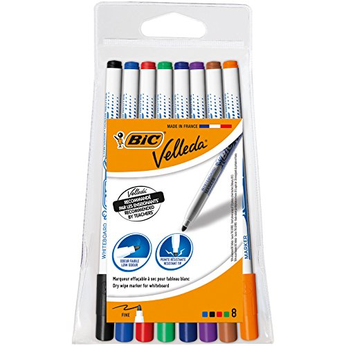 BIC Velleda 1721 Whiteboard Pens - Assorted Colours, Pouch of 8