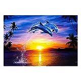(US) Vanpower 5D DIY Full Drill Diamond Painting Sunset Dolphin Cross Stitch Embroidery