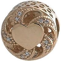 Pandora Ribbon Heart Openwork Gold Charm & Clear Cubic Zirconia 751004CZ