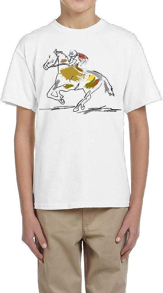 Boys Short-Sleeve Tee Crew-Neck Man Riding A Horse On The Run