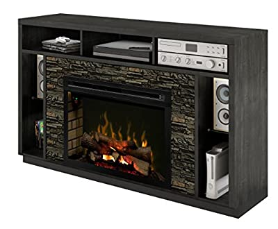 DIMPLEX Electric Fireplace, TV Stand, Media Console, Space Heater and Entertainment Center with Natural Log Set in Black Steel Finish - Joseph #GDS33LD-DX1113