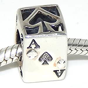 """925 Sterling Silver """"3D Ace of Spades Playing Card"""" Charm Bead"""