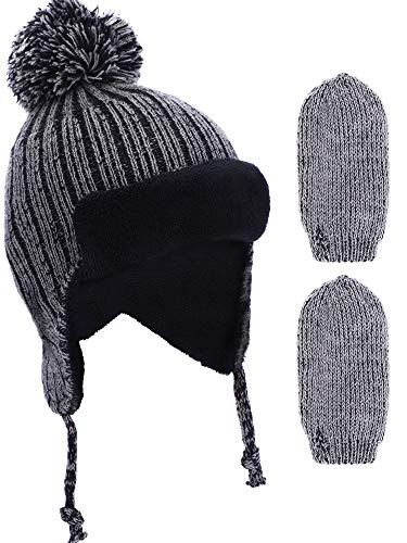 Piece 3 Set Mitten (BOAO 3 Pieces in Total Boys Girls Lined Fleece Hat Knit Cap Baby Mitten Gloves Set for Winter Kids Supplies (Set 6))