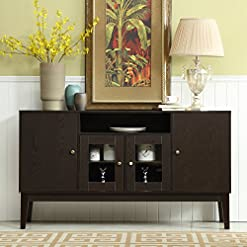 Farmhouse Buffet Sideboards Mixcept 60″ Modern Solid Wood Sideboard Buffet Table Storage Cabinet Tall Console Table with 4 Doors, Espresso farmhouse buffet sideboards