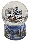 Musicbox Kingdom Porcelain Snow Globe a Winter Scene Houses The Snow Swirls Automatically Whilst a Christmas Tune is Played Decorative Item