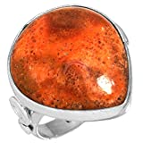 Solid 925 Sterling Silver Ring Natural Sponge Coral Gemstone Handcrafted Jewelry Size 7.5
