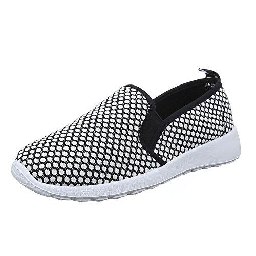 Ital-Design Damen Schuhe, C27-13, Halbschuhe Sportliche Slipper Weiß