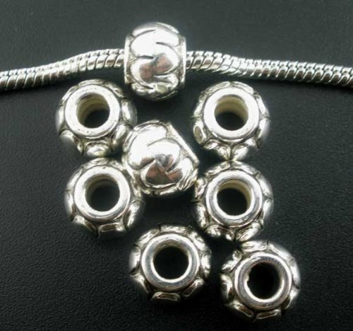 (PEPPERLONELY Brand 80pc Antique Silver Acrylic Latern Spacer Beads Large Hole Fits European Brac...)