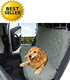 Elegance Linen Diamond Design %100 Waterproof Premium Quality Micro-Suede Bench Car Seat Protector Cover (Entire Rear Seat) for Pets – TIES TO STOP SLIPPING OFF THE BENCH , Grey