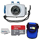 Intova Duo Waterproof HD POV Sports Video Action Camera With Compact Case + 32GB microSDHC UHS-I Card with Adapter + Clean Cloth (White)