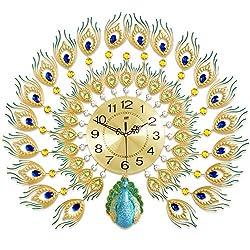 NgFTG Home Decor Peacock Wall Clock, Crystal Luxury Wall Art Quartz Clock,Creative Silent Non Ticking Decorative for Living Room-a 76x65cm(30x26inch)