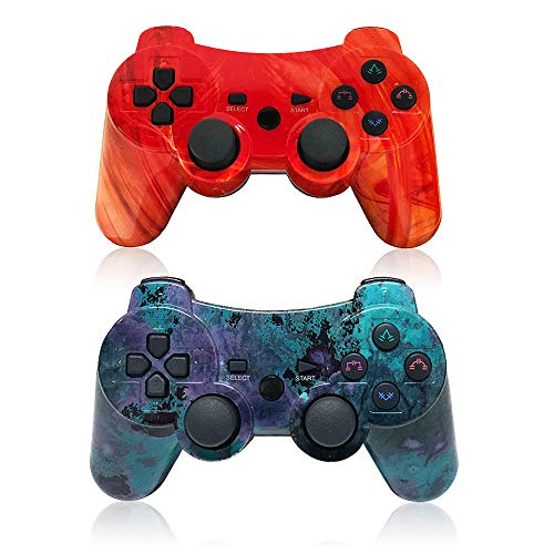(PS3 Wireless Controller Dual Vibration GamePad for PlayStation 3 Six-axis Gaming Joystick, up to 10m Remote Control, Support PC (Windows XP/7/8/10) with Charging Cable)