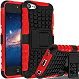 iPod Touch 6 Case,iPod Touch 5 Case, SLMY(TM) Heavy Duty Dual Layer Shockproof/Impact Resistance Hybrid Rugged Cover Case with Built-in Kickstand for Apple iPod Touch 5 6th Generation Red