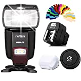 INSEESI IN560IV Wireless Flash Speedlite GN50 LED Light+Pixel TF-325 Flash Hot shoe Adapter for Sony+Pixel Camera Body Cap+Lens Cap for Sony