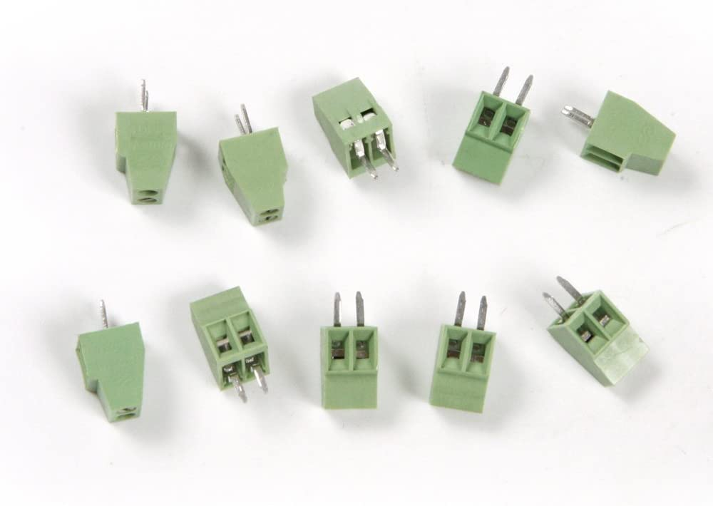 Atoplee 50pcs 2 Pole 2.54mm Pitch PCB Mount Screw Terminal Block Connector
